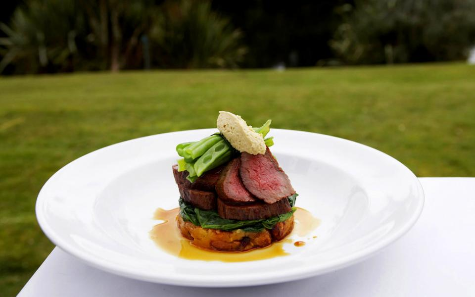 Savour the flavours of a delectable Wilderness Lodge lamb backstrap during your New Zealand West Coast adventure holiday.