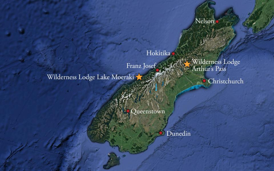Locations of New Zealand's two Wilderness Lodges
